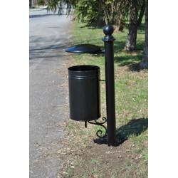 Kosz uliczny KO-10b stalowy uchylny z daszkiem