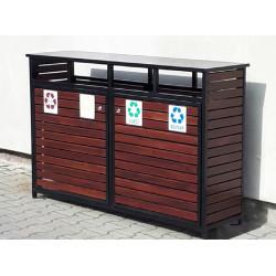 Kosz do sortowania odpadów KSO-03 w obudowie drewnianej  lub stalowej
