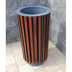 Kosz uliczny KO-43b stalowy w obudowie drewnianej bez daszka